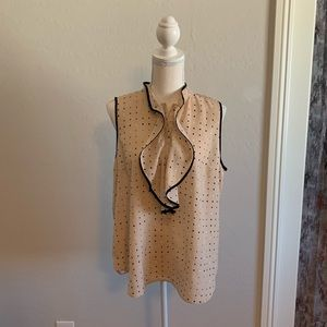 Ann Taylor Ruffle front Career Blouse